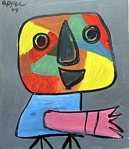 The Bird, 49' - Oil on Paper - Karel Appel