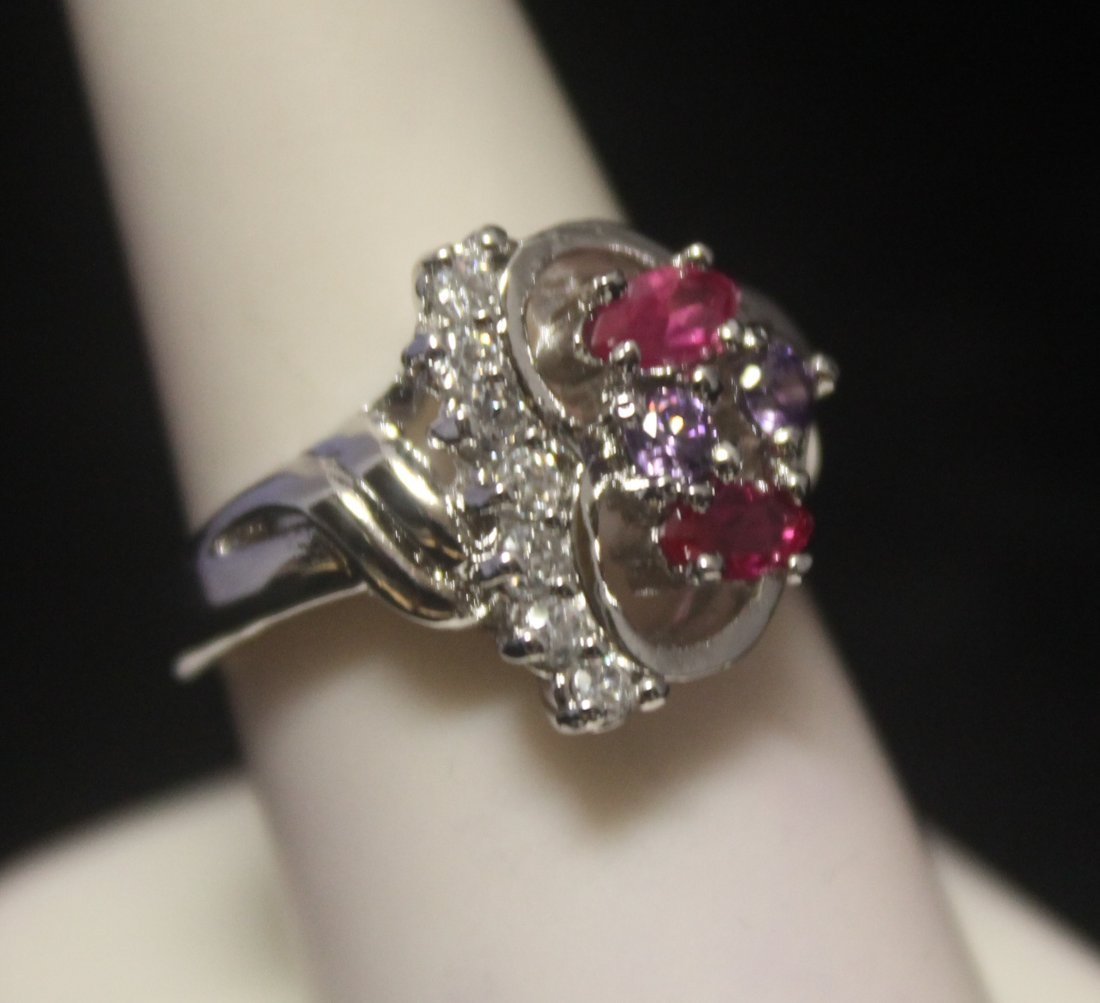 Dazzling Heart Shape Ruby & Diamonds Silver Ring