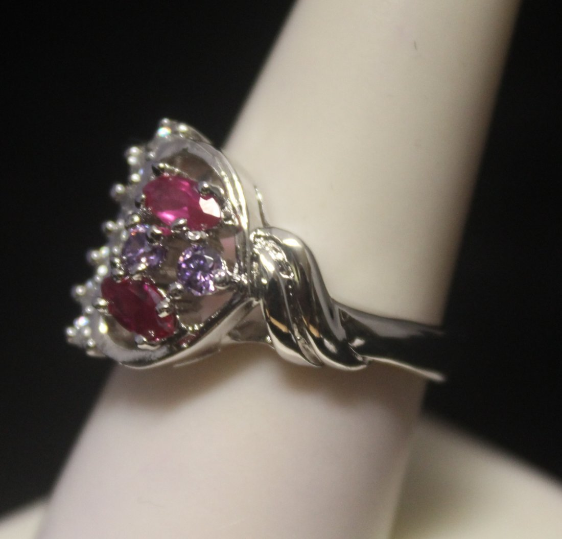 Dazzling Heart Shape Ruby & Diamonds Silver Ring - 2