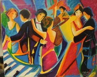 The Tango Club Lithograph on canvas - By Max, Phelp