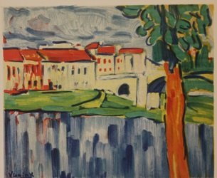 Chatou with red Tree - Lithograph - by Vlaminck