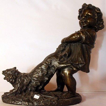 Tail Tugging - Bronze Sculpture