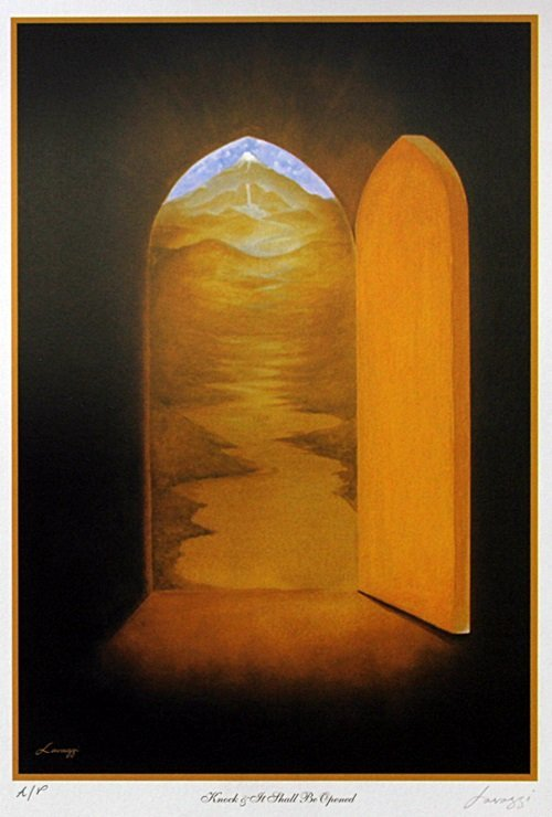 """Lithograph """"Knock and It Shall Be Opened"""" after Steven"""