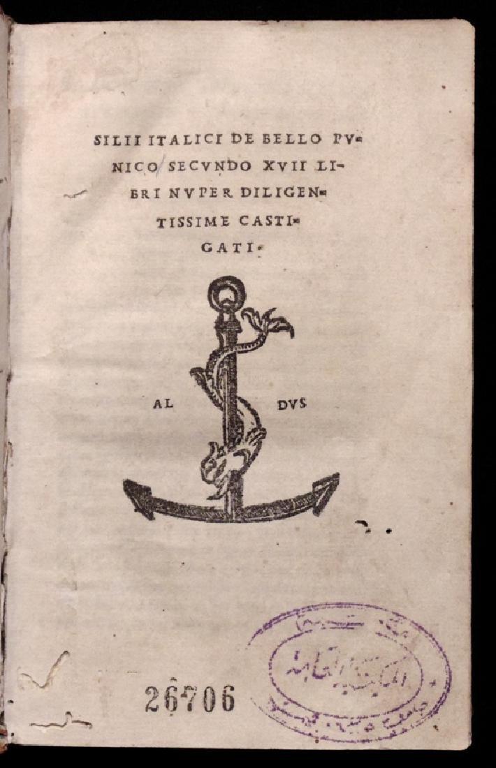 [Aldine Press]  Silius Italicus. De Bello Punico….