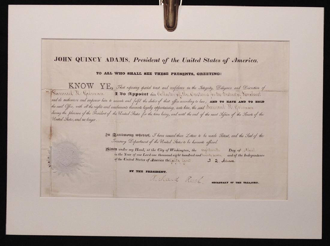 Adams, John Quincy.  Signed Appointment - 2