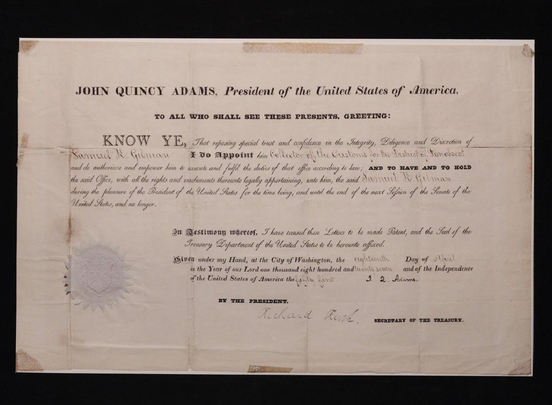 Adams, John Quincy.  Signed Appointment - 3