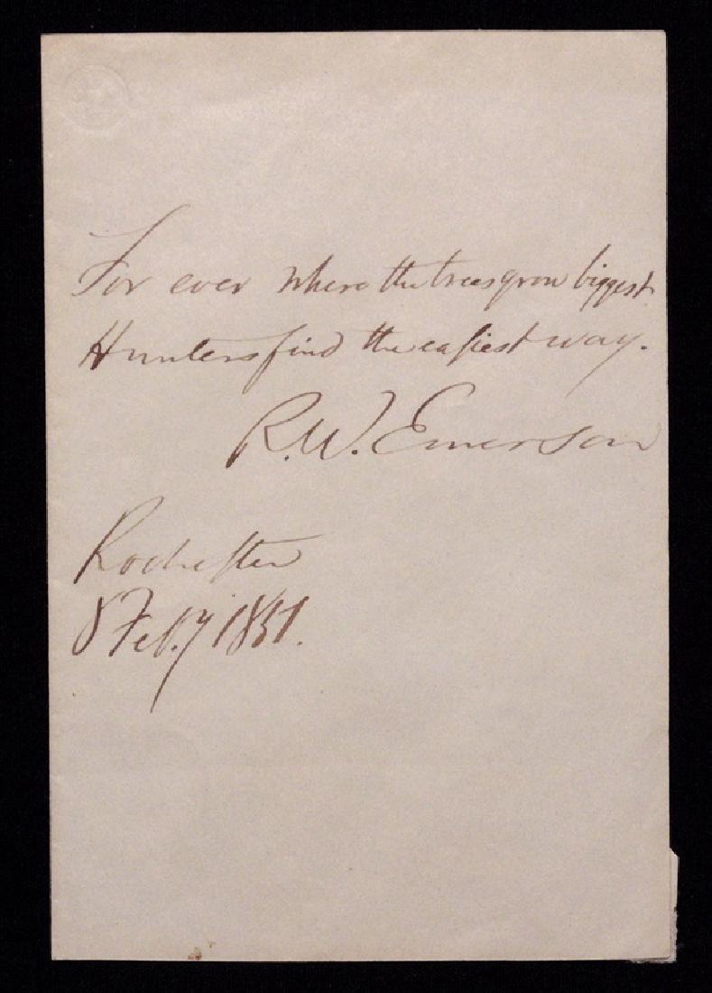 Emerson, Ralph Waldo.  Autograph Quote Signed