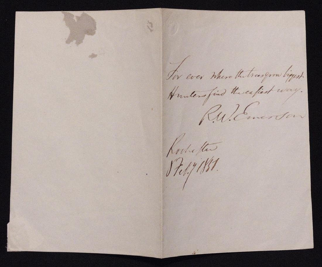 Emerson, Ralph Waldo.  Autograph Quote Signed - 2