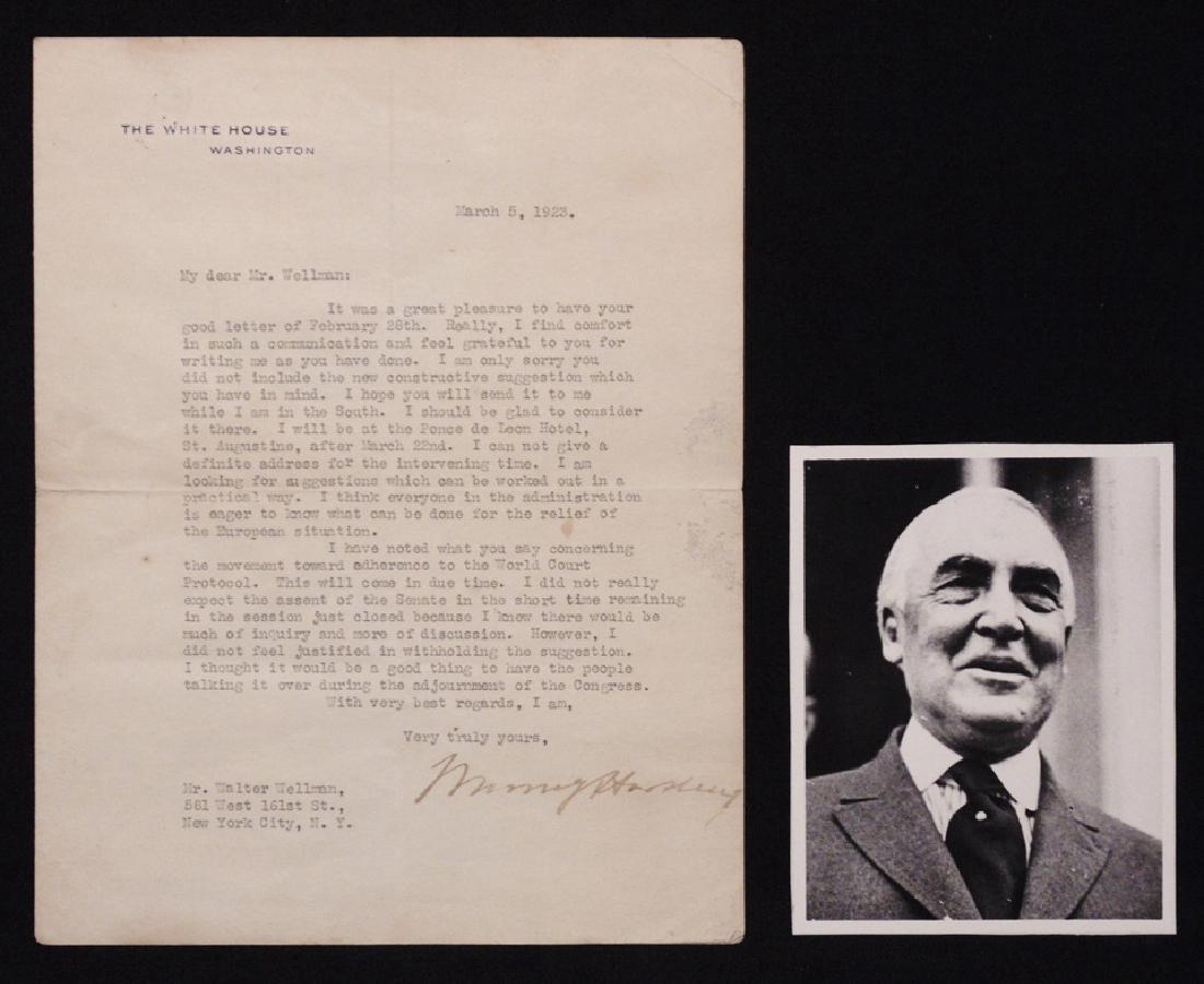 Harding, Warren G.  Typed Letter Signed