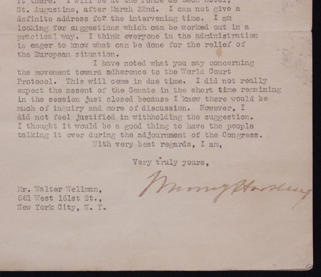 Harding, Warren G.  Typed Letter Signed - 2