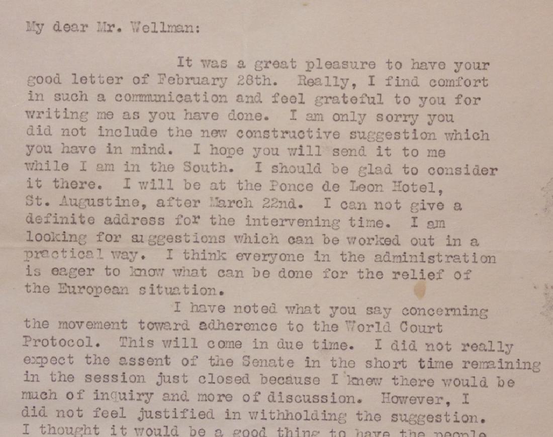 Harding, Warren G.  Typed Letter Signed - 3