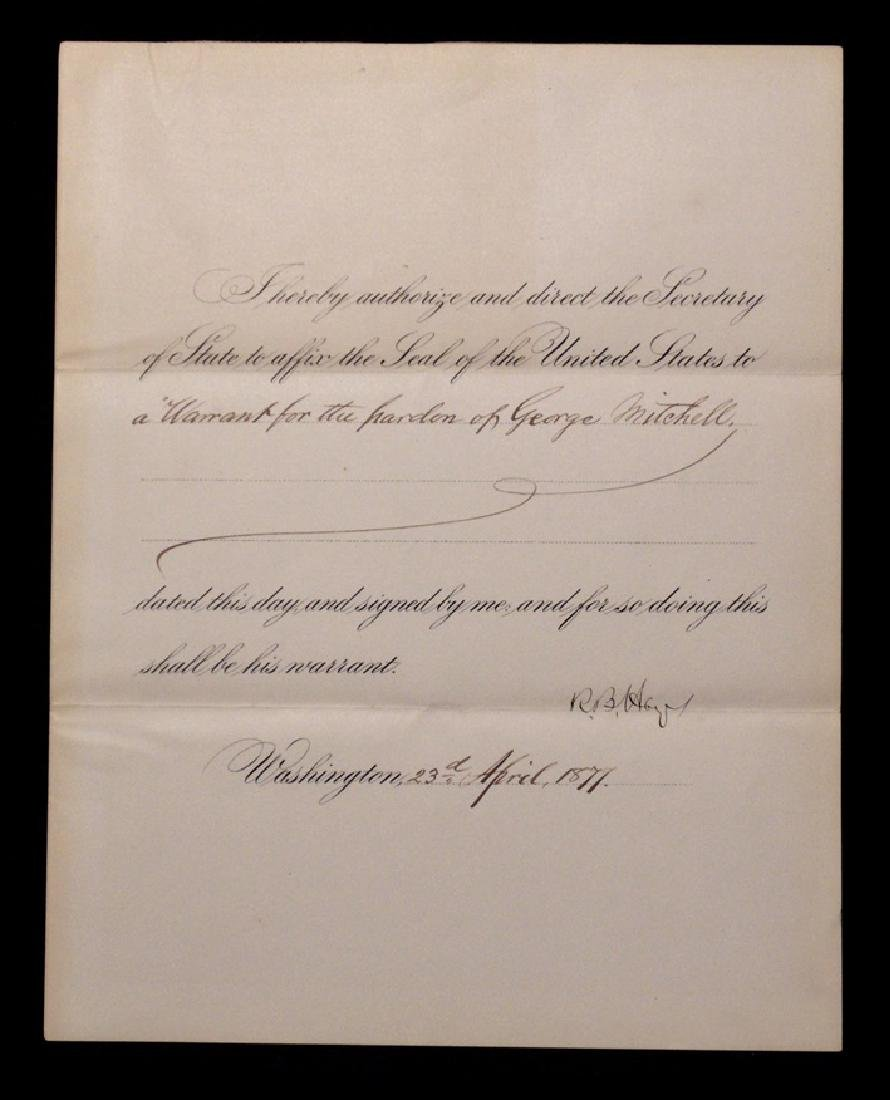 Hayes, Rutherford B.  Signed Document