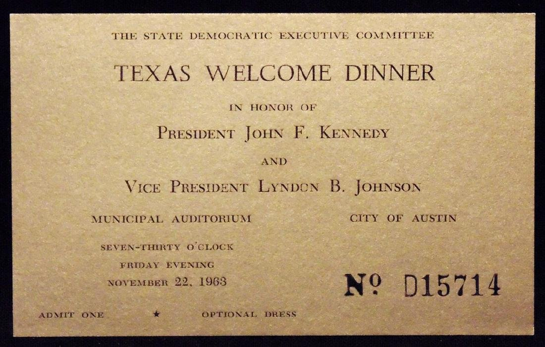 [John F. Kennedy]  Texas Dinner Ticket