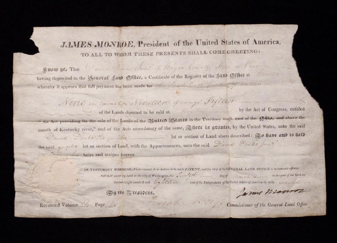 Monroe, James.  Signed Land Grant