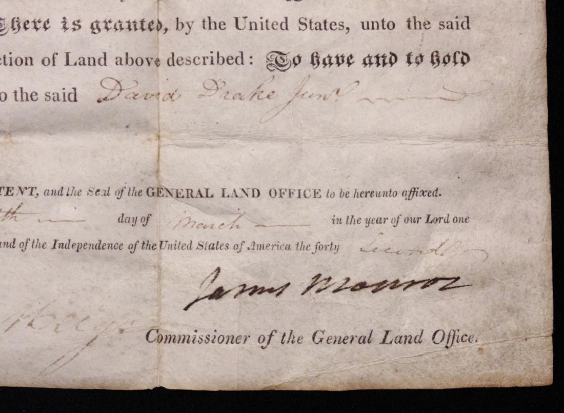 Monroe, James.  Signed Land Grant - 2