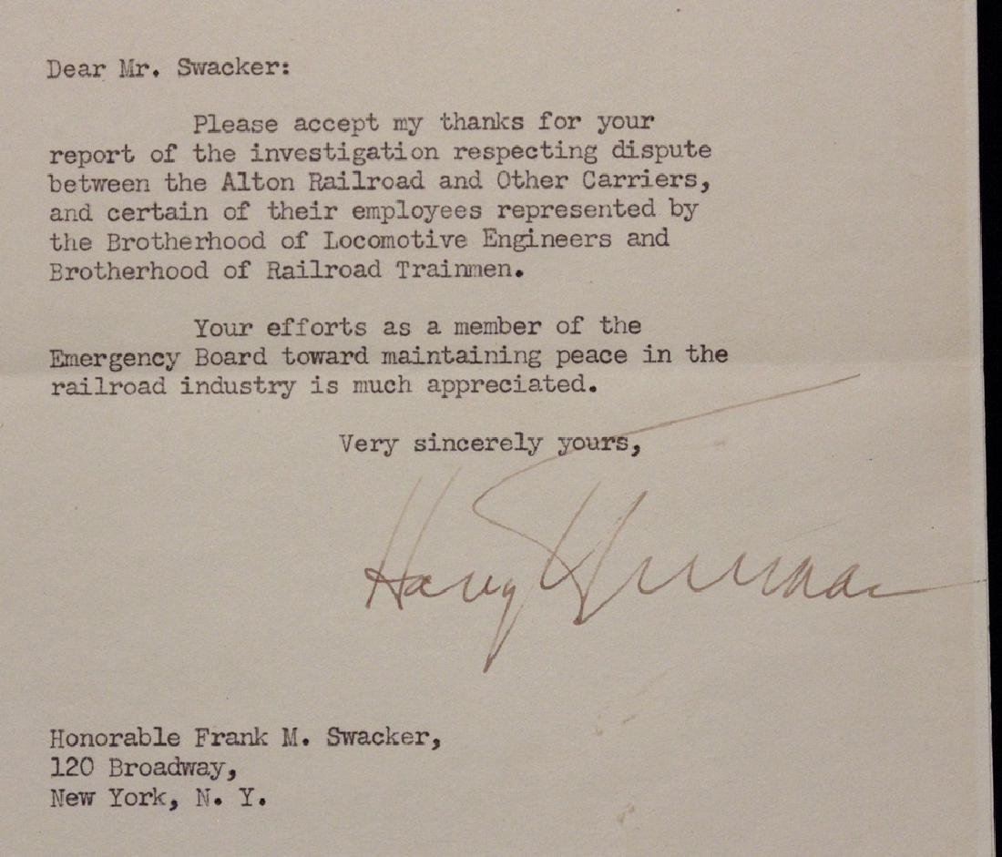 Truman, Harry.  Typed Letter Signed - 3
