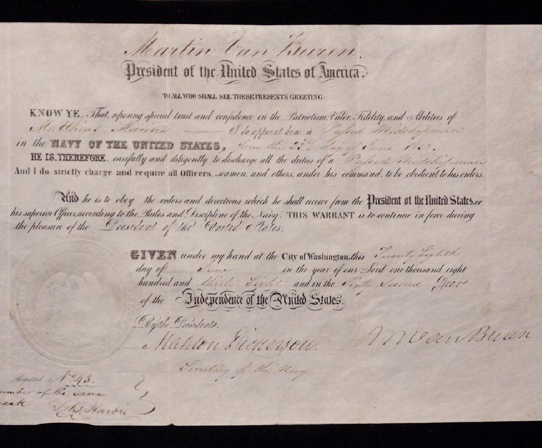 Van Buren, Martin.  Signed Appointment - 2