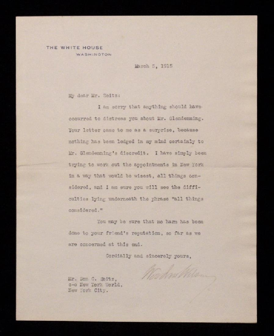 Wilson, Woodrow.  Typed Letter Signed