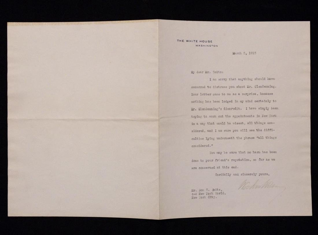 Wilson, Woodrow.  Typed Letter Signed - 5