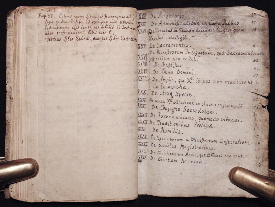 [Articles, Church of England]  Manuscript, ca. 1700 - 8