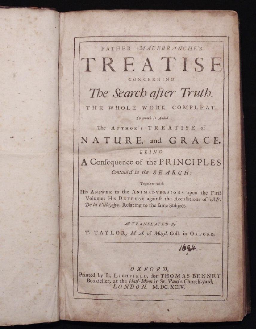 Malebranche on the Search for Truth, 1694 - 3