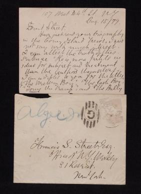 Alger, Horatio.  Signed Letter to Publisher
