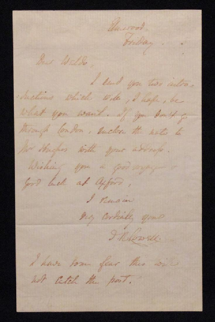 [James Lowell & R. W. Emerson]  Letter Signed