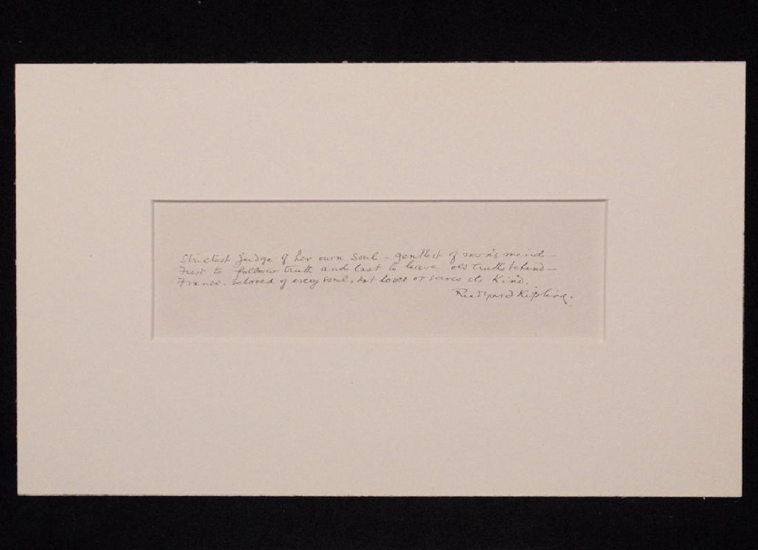 Kipling, Rudyard.  Autograph Poetry Signed