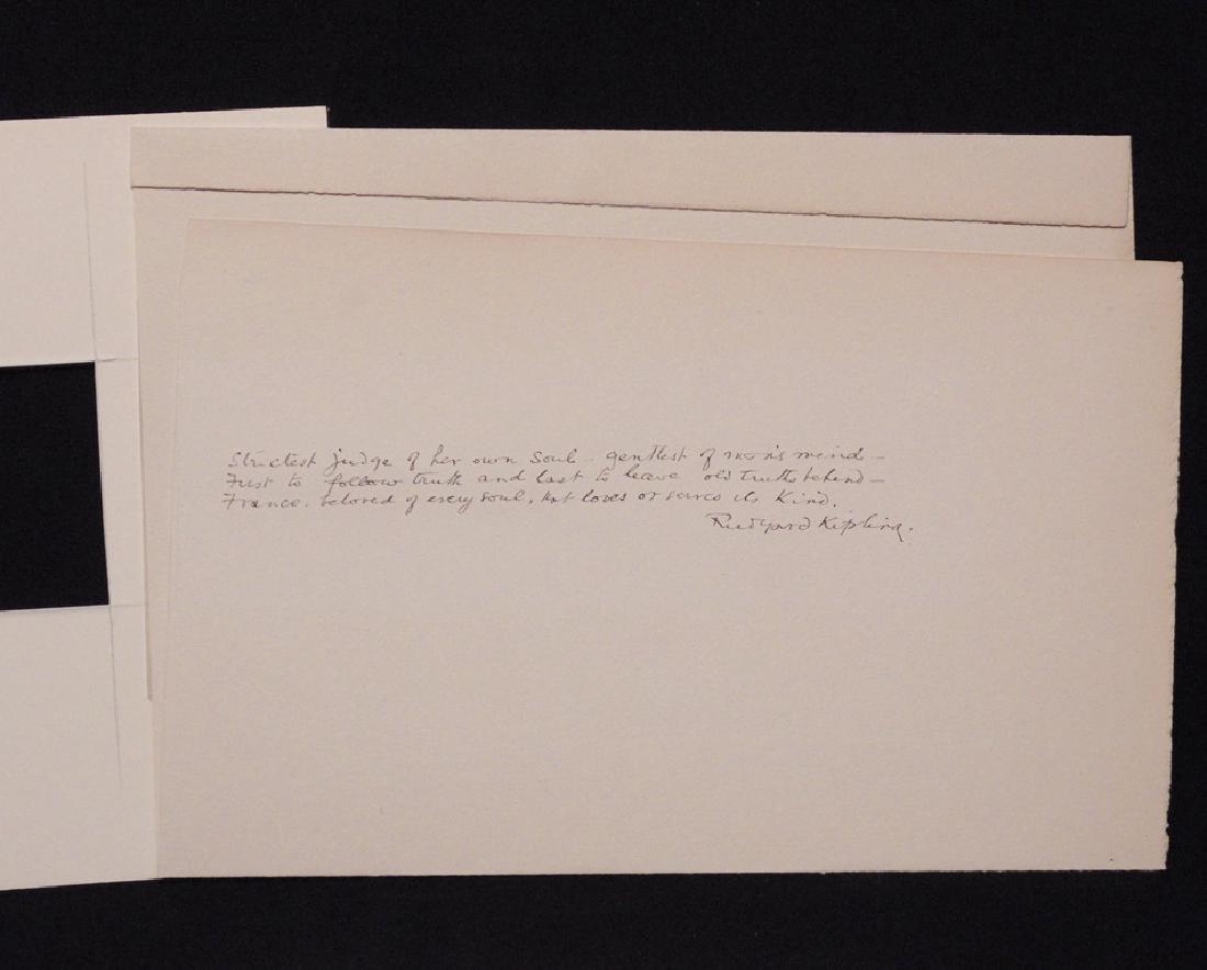 Kipling, Rudyard.  Autograph Poetry Signed - 3