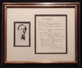 Masters, Edgar Lee.  Autograph MS Signed