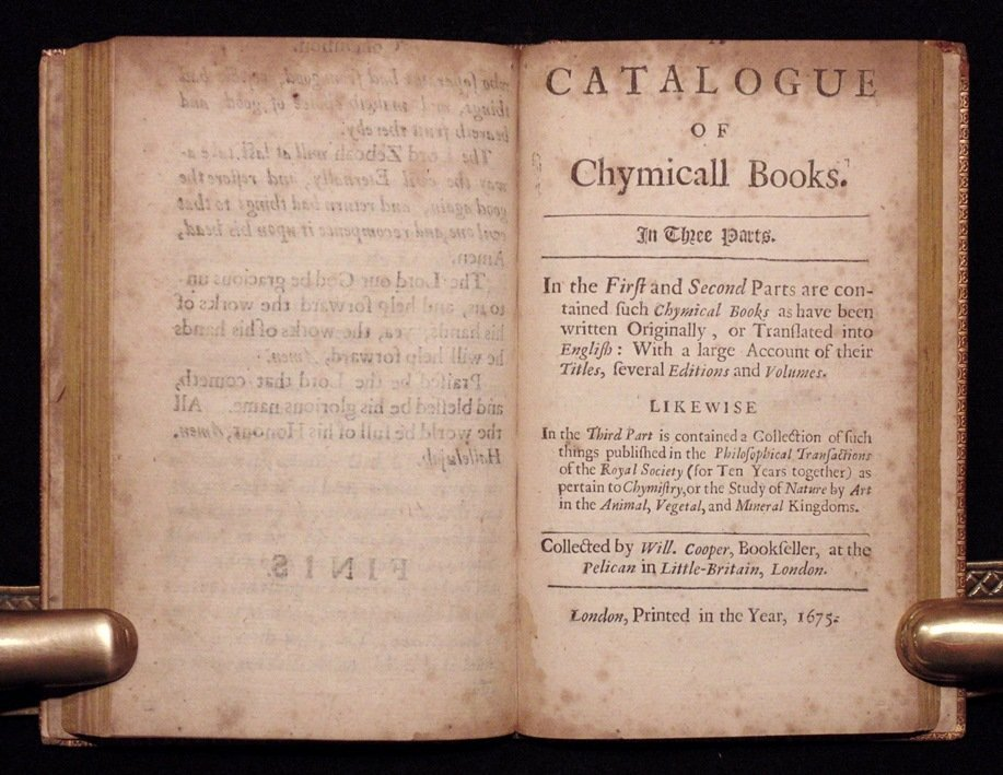 A Catalogue of Chymicall Books, 1675