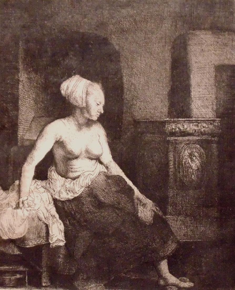 Rembrandt.  Woman Sitting by Stove, 1658