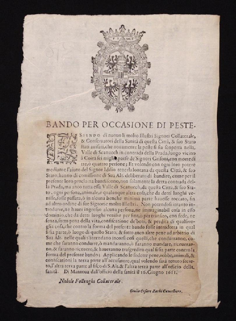 [Plague in Italy]  Broadside, 1611