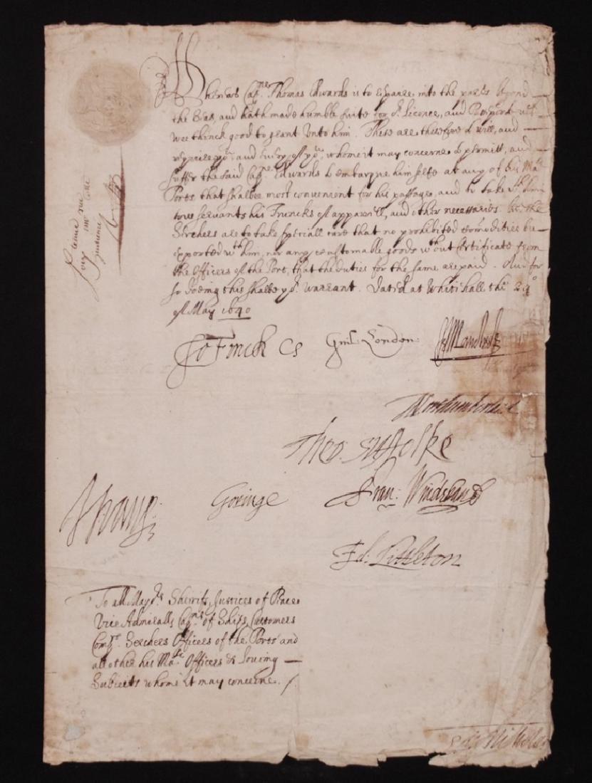 [17th c. British Maritime;  MS Passport]