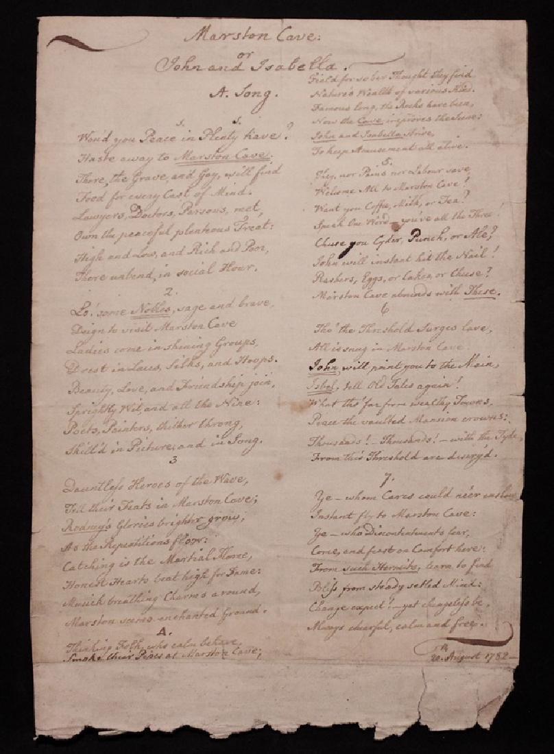 Manuscript Tavern/Pub Song, 1782