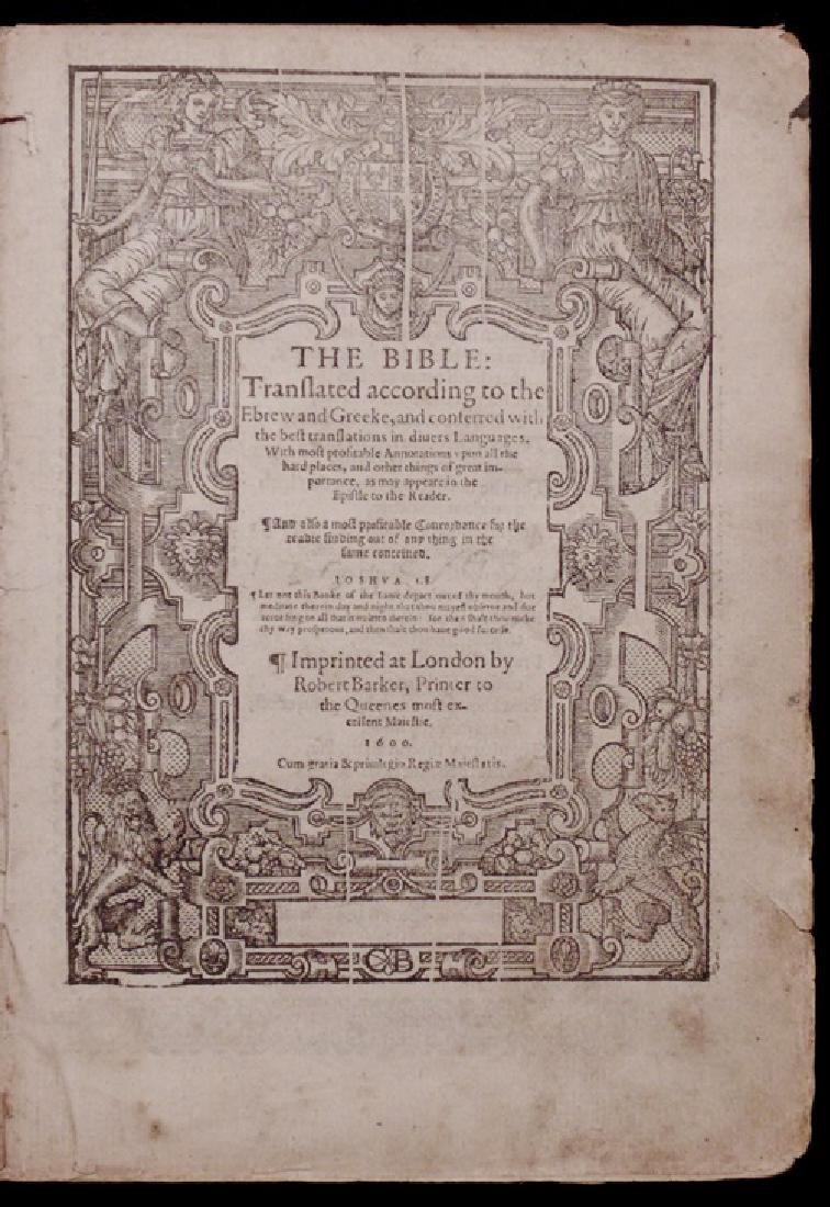 [Bible, Geneva Version, 1600, 1st Robert Barker]