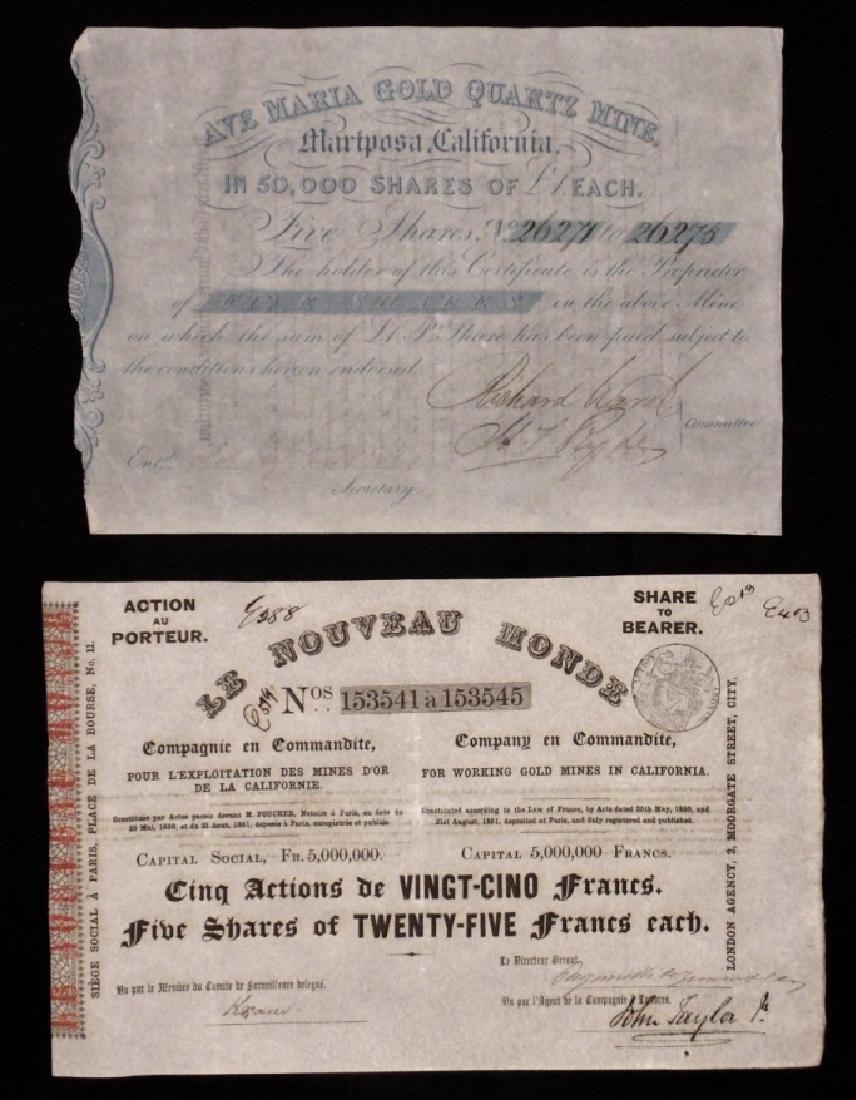 [California Gold Rush] Shares, Certificates