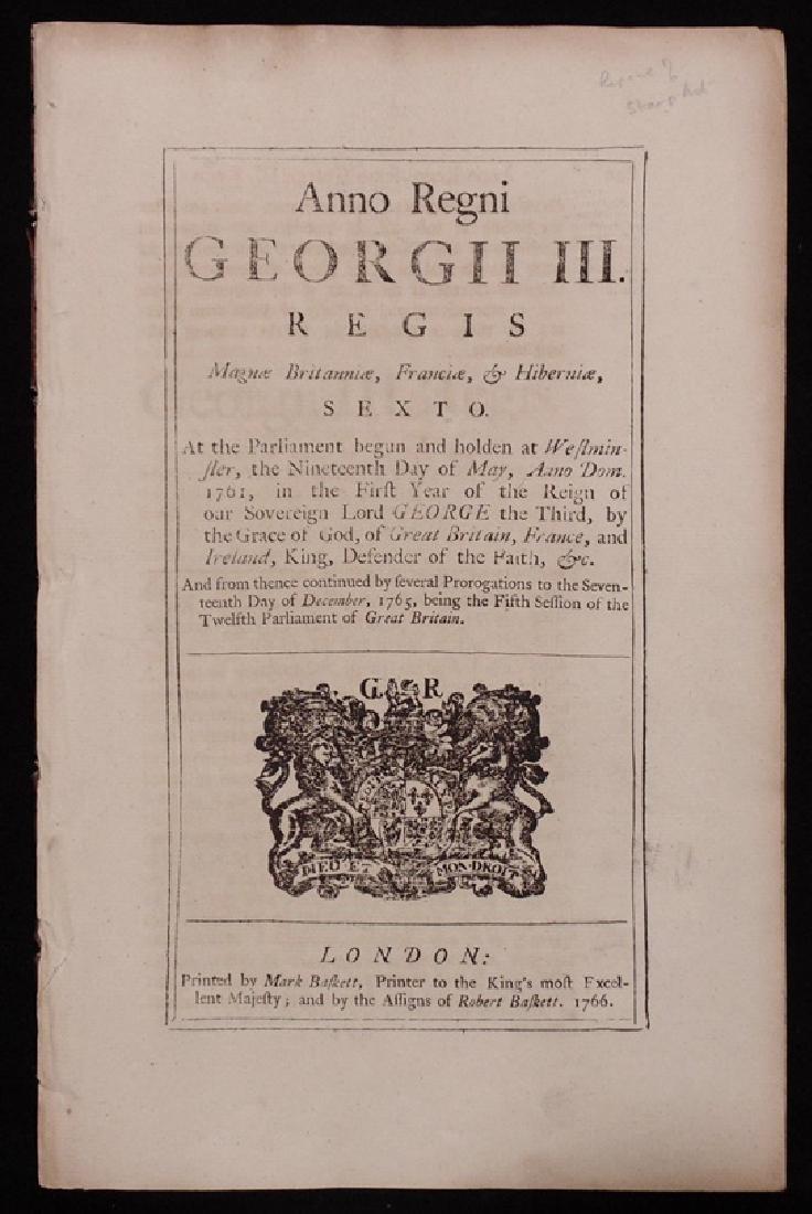 [Stamp Act, British Duties/Taxes]  An Act, 1766