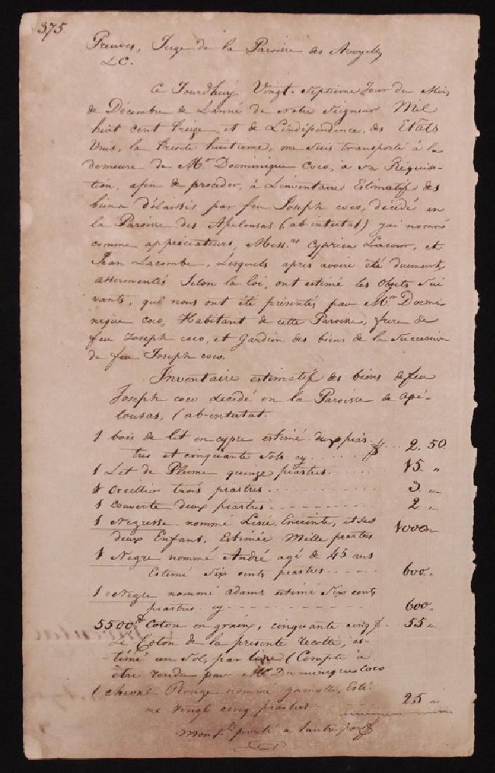 [Slavery in Louisiana]  Slave Appraisal, 1830