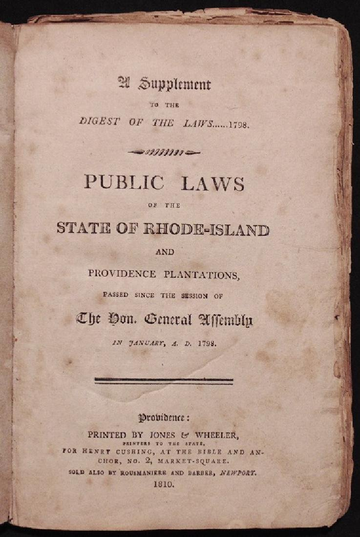 [Rhode Island, Laws, Book & Broadside, 1810]