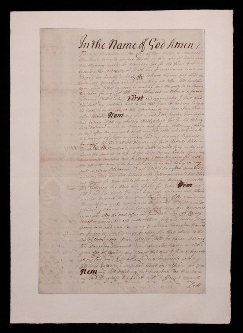 [New York, 1703]  Will Signed by Cornbury