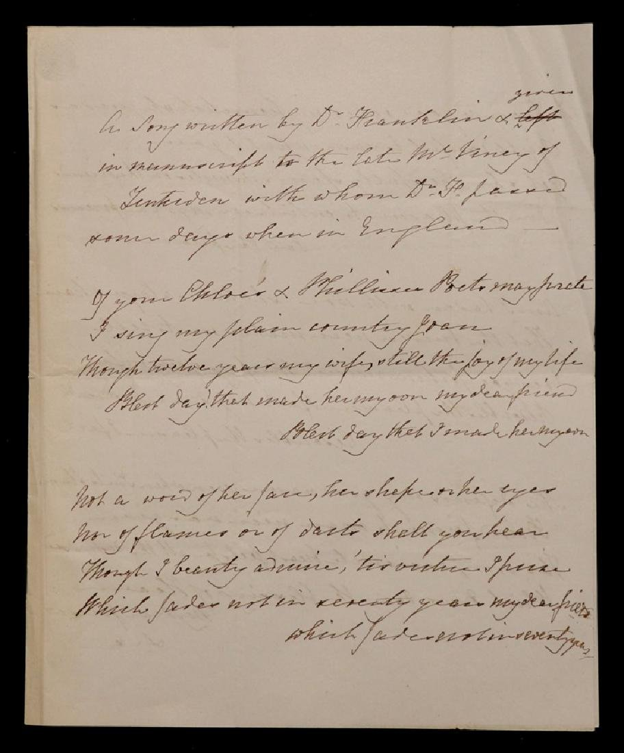 Ben Franklin, Manuscript Song