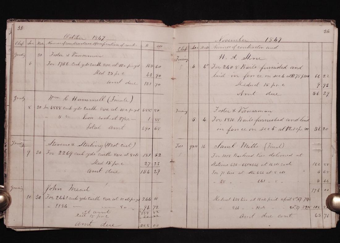 [Michigan Central Railroad]  Ledger, 1847 - 4