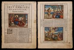 Pair of HandColored Bible Leaves Venice 1588