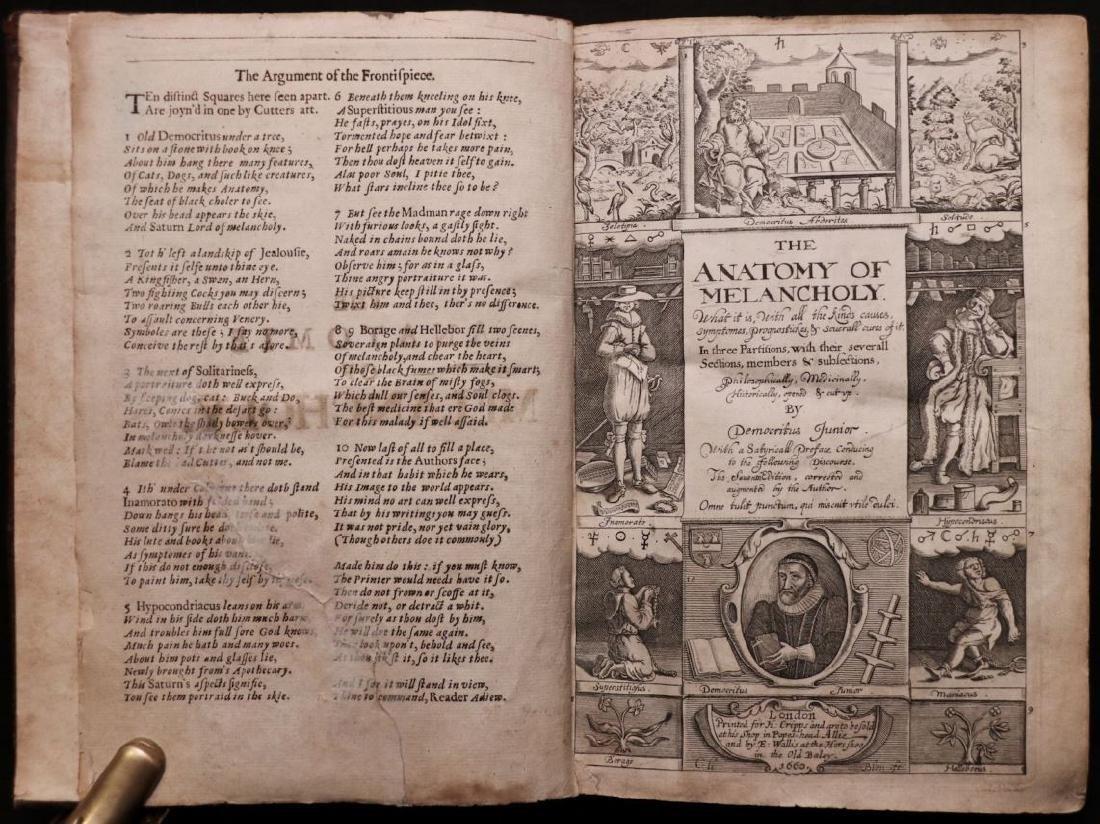 Burton's Anatomy of Melancholy, 1660