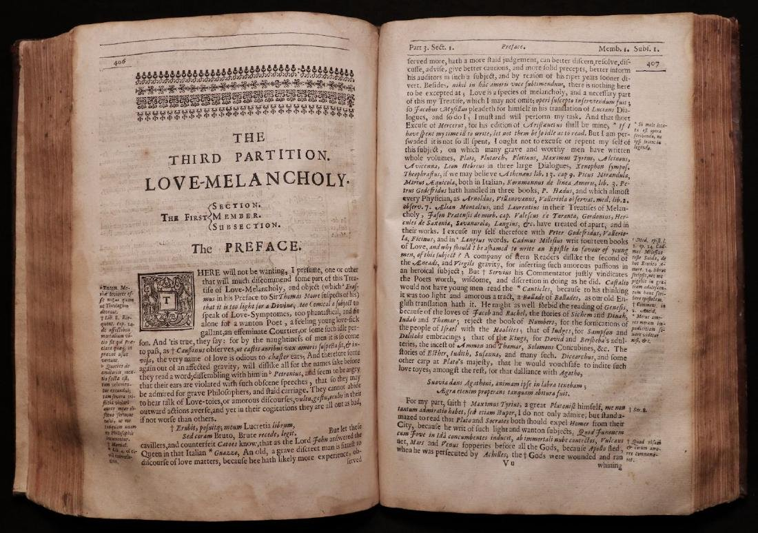 Burton's Anatomy of Melancholy, 1660 - 6