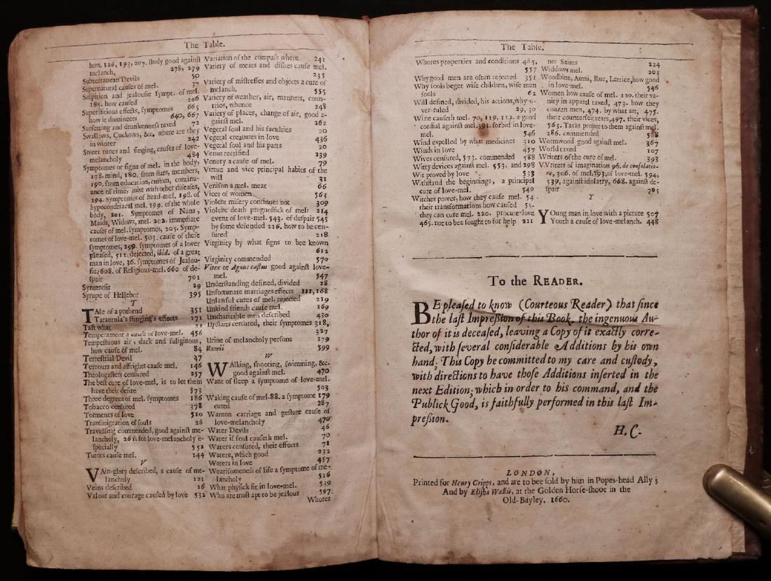 Burton's Anatomy of Melancholy, 1660 - 9
