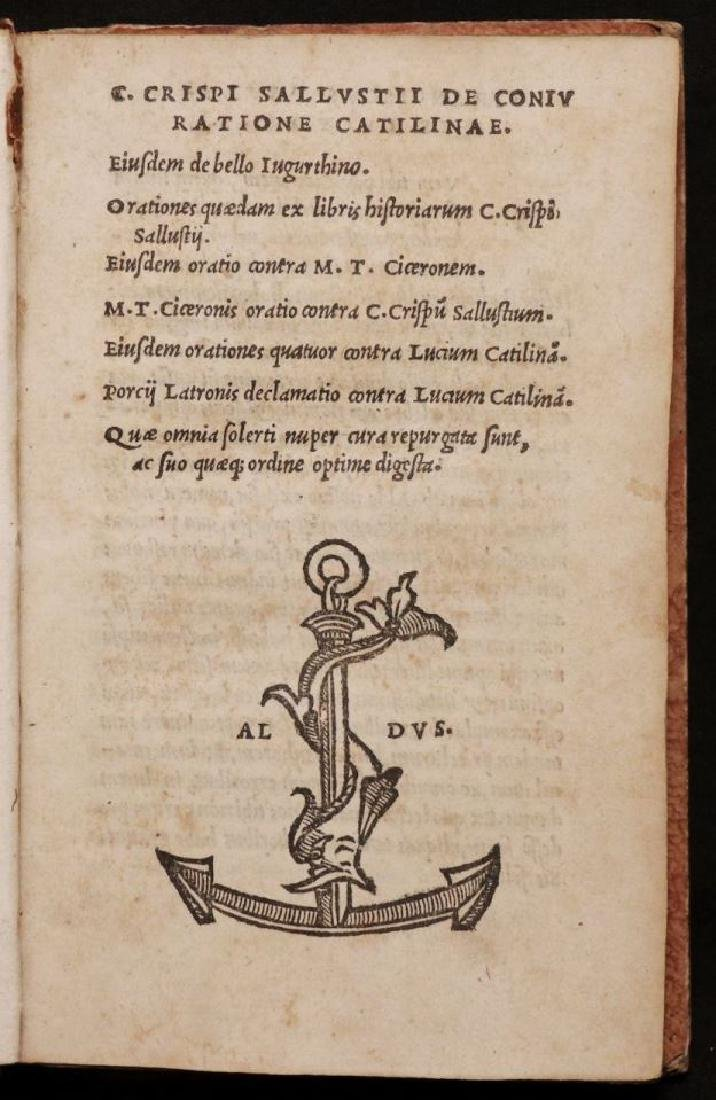 [Aldine] Sallustius, Cataline Conspiracy & Others