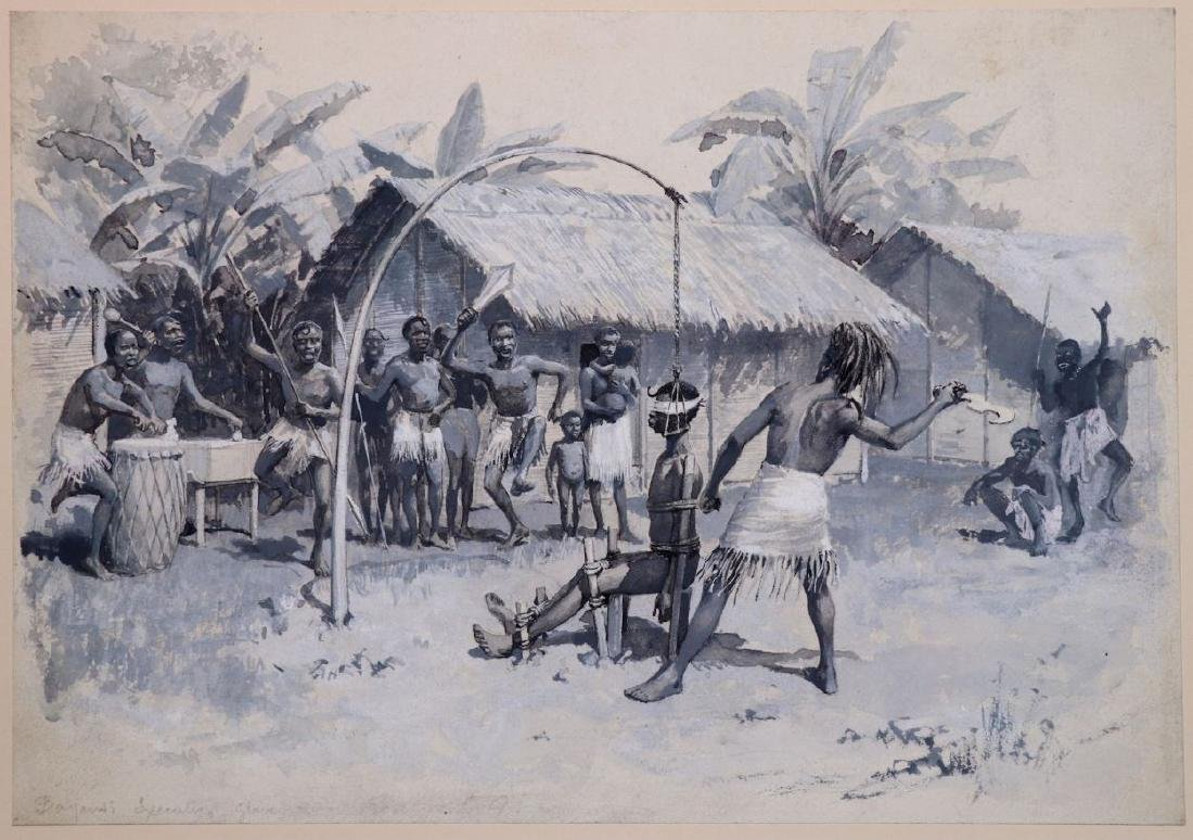[Slavery, Africa]  Watercolor, Bayansi Execution