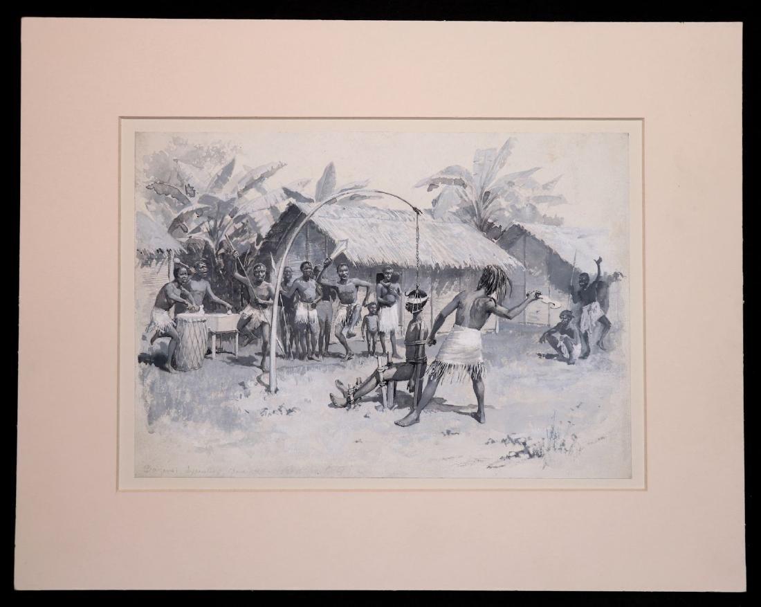 [Slavery, Africa]  Watercolor, Bayansi Execution - 2
